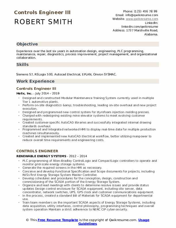Controls Engineer III Resume Model