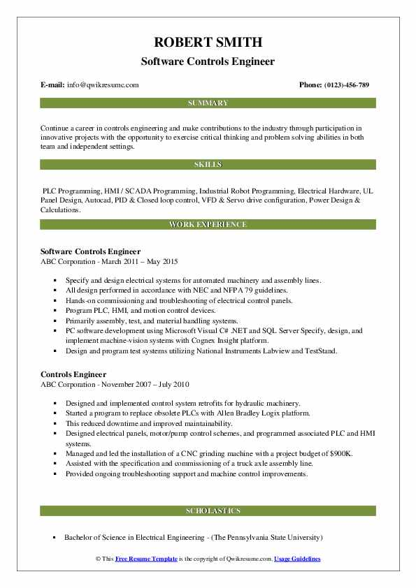Software Controls Engineer Resume Template