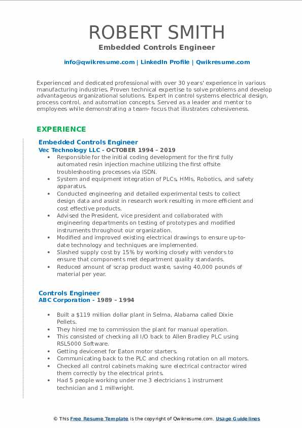 Embedded Controls Engineer Resume Model