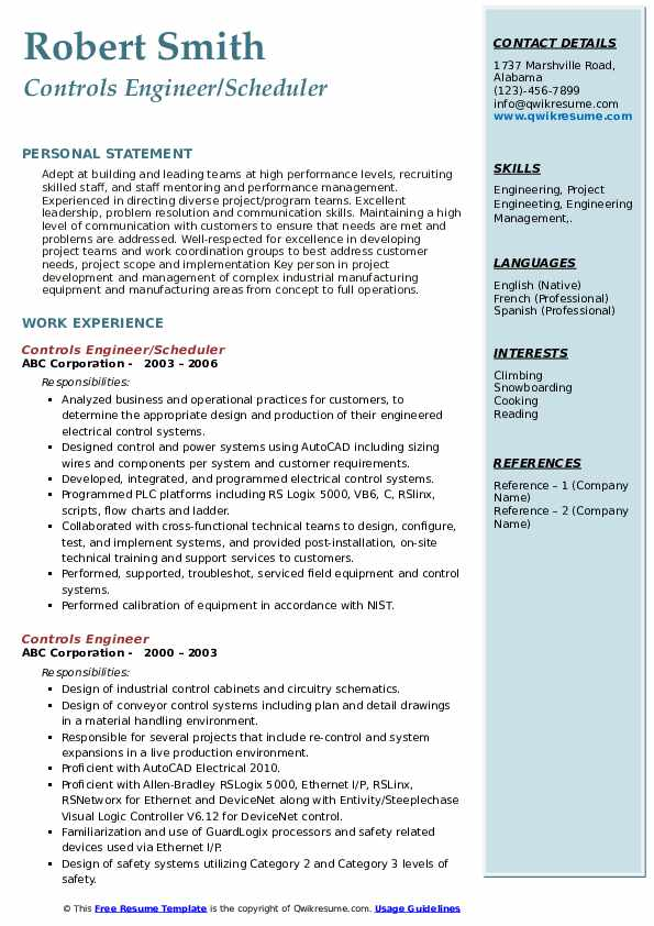 Controls Engineer/Scheduler Resume Example