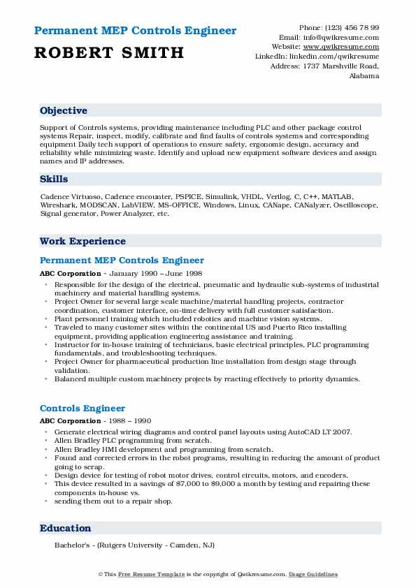 Permanent MEP Controls Engineer Resume Model