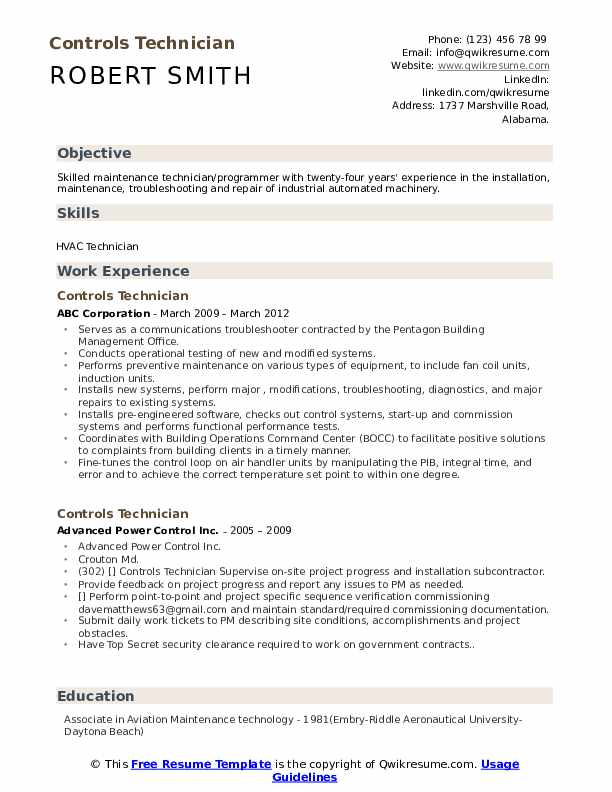 Controls Technician Resume Sample