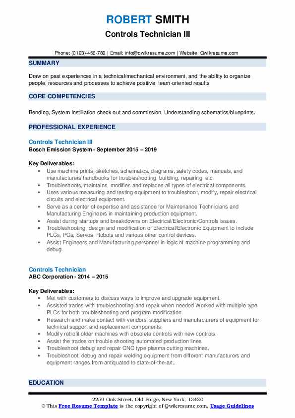 Controls Technician III Resume Model
