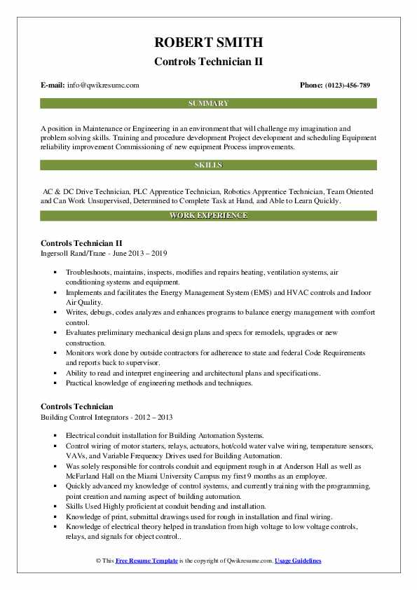 Controls Technician II Resume Template