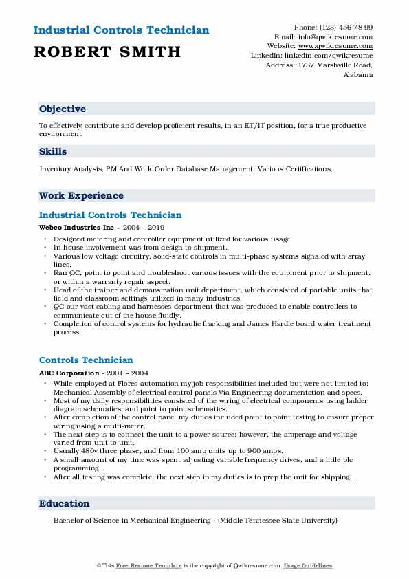 Industrial Controls Technician Resume Example
