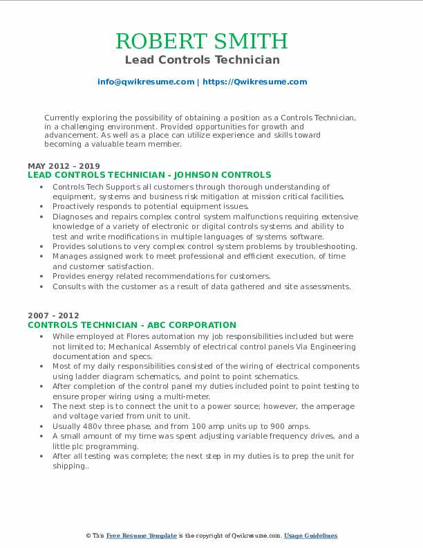 Lead Controls Technician Resume Sample