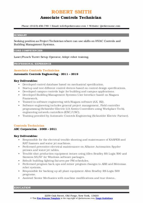 Associate Controls Technician  Resume Example