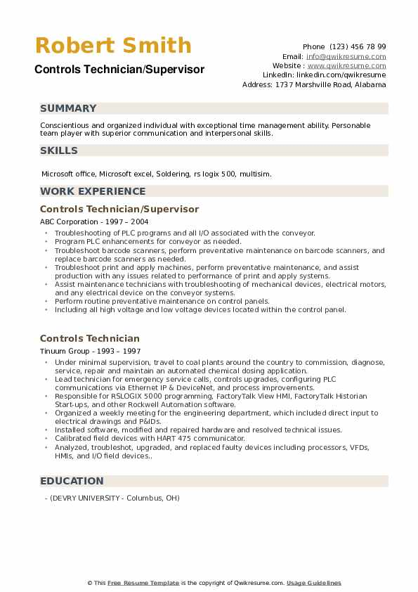 Controls Technician/Supervisor Resume Sample
