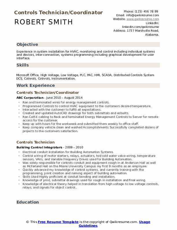 Controls Technician/Coordinator Resume Template