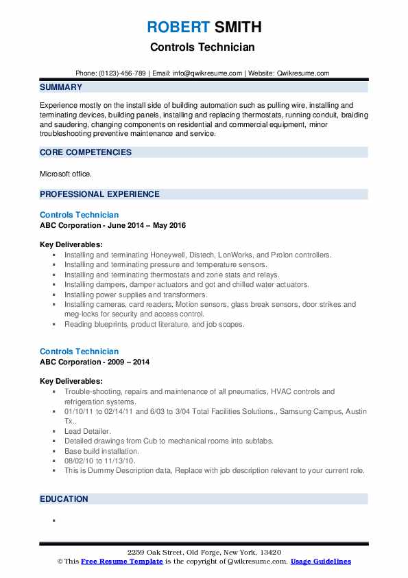 Controls Technician Resume example