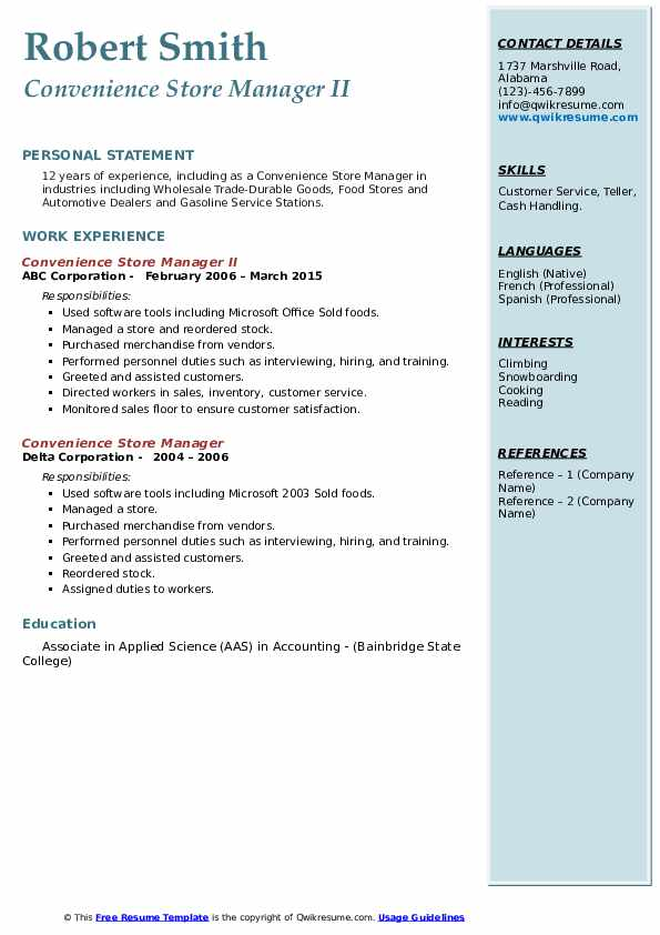 Convenience Store Manager Resume Samples Qwikresume