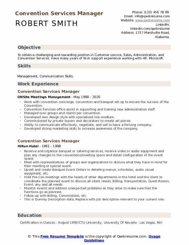 Convention Services Manager Resume example