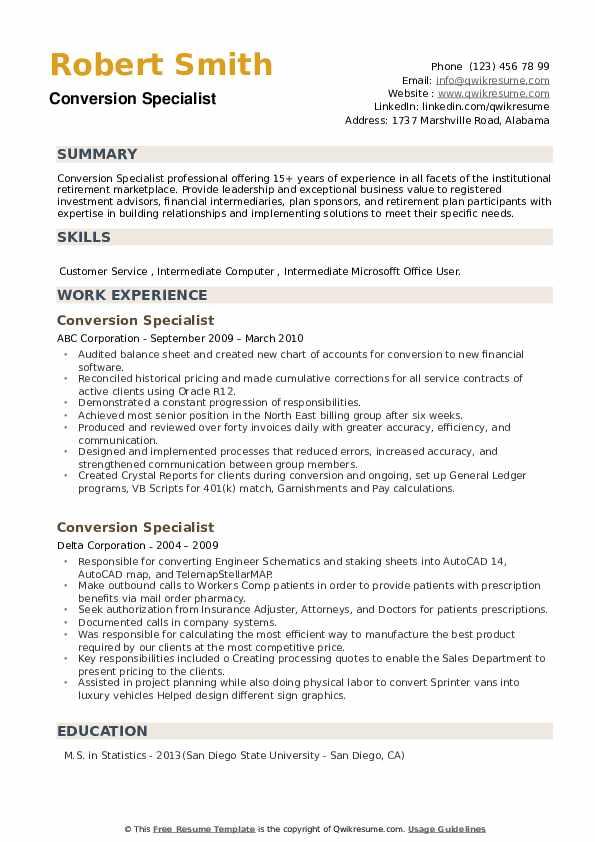Conversion Specialist Resume example