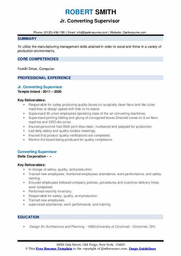 converting supervisor resume samples