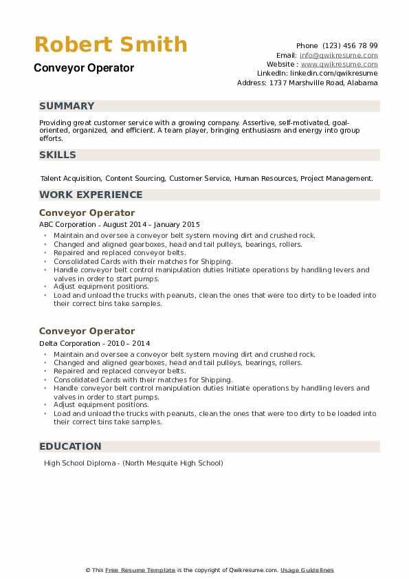 Conveyor Operator Resume example