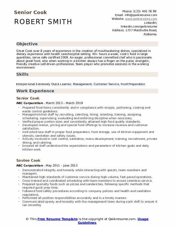 cook resume samples  qwikresume