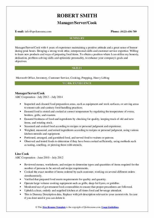 Cook Resume Samples