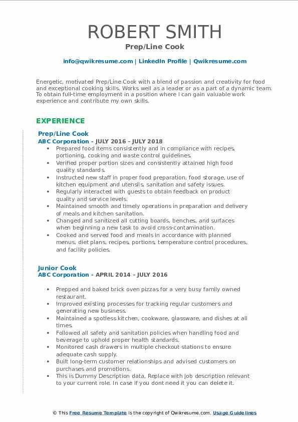 Prep/Line Cook Resume Sample