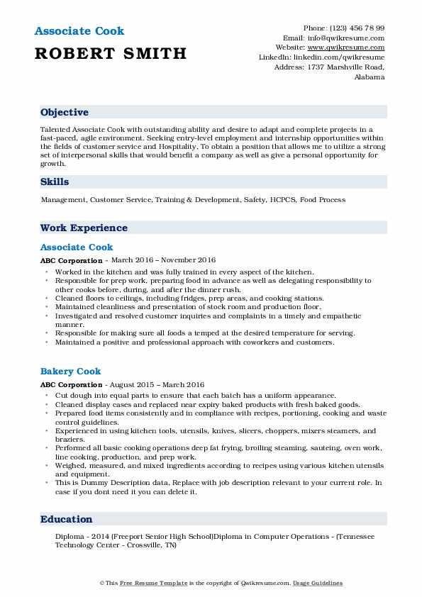 Associate Cook Resume Model