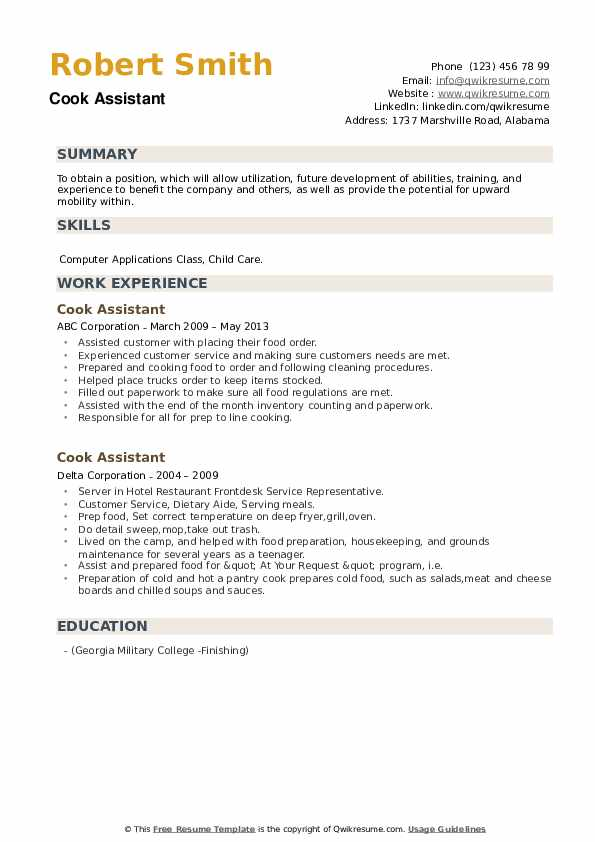 Cook Assistant Resume example