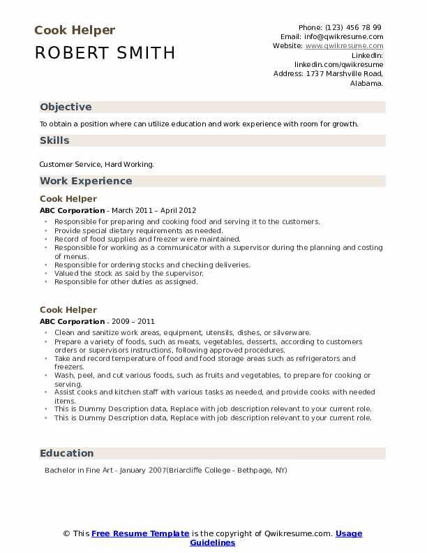 Cook Helper Resume example