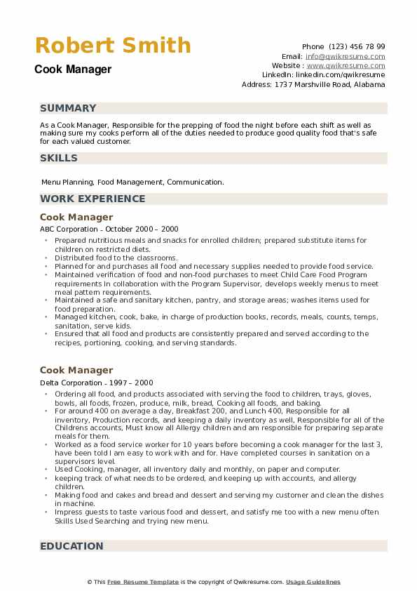 Cook Manager Resume example