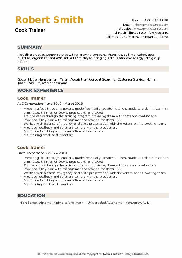 Cook Trainer Resume example