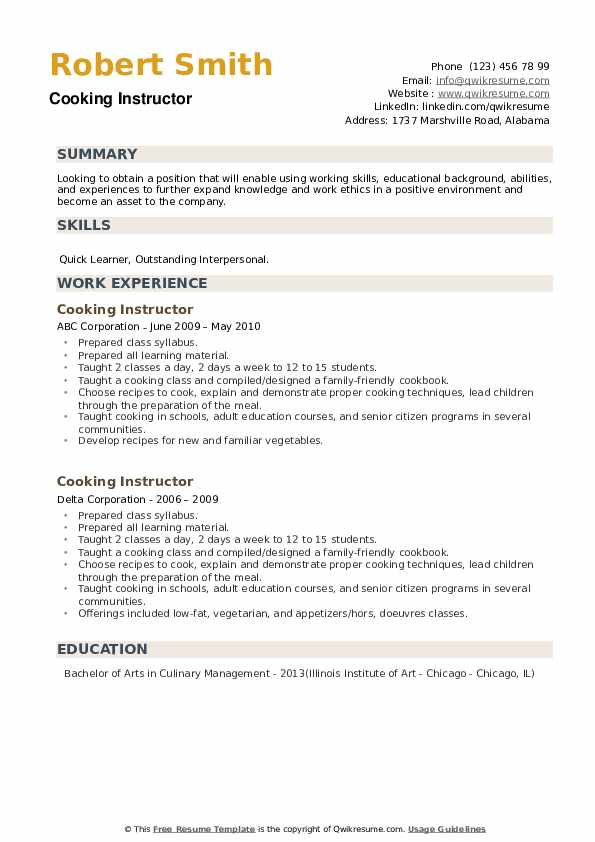 Cooking Instructor Resume example