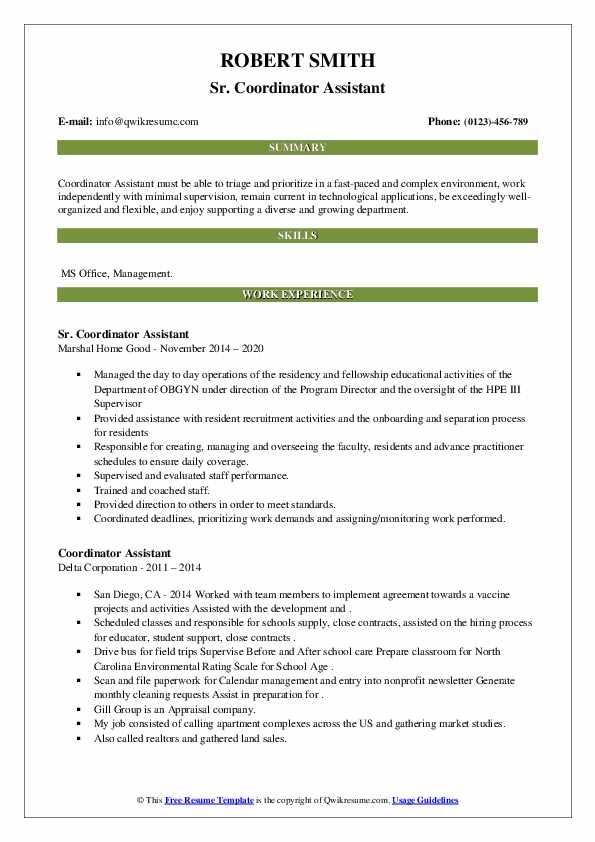 coordinator assistant resume samples  qwikresume