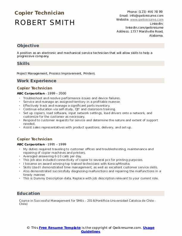 Copier Technician Resume example