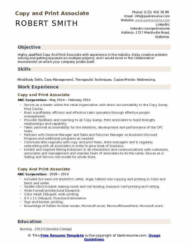 Copy And Print Associate Resume Samples
