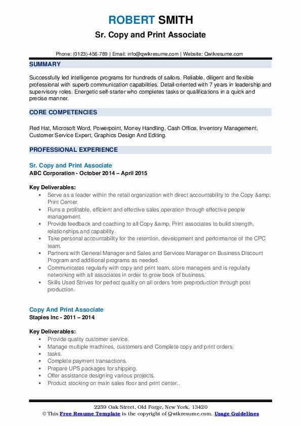 Copy And Print Associate Resume Samples Qwikresume
