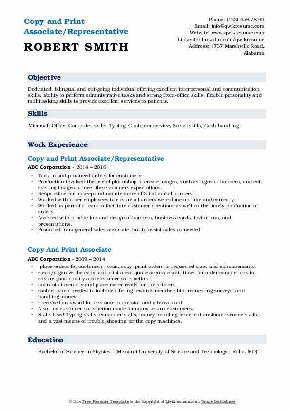Copy and Print Associate/Representative Resume Sample