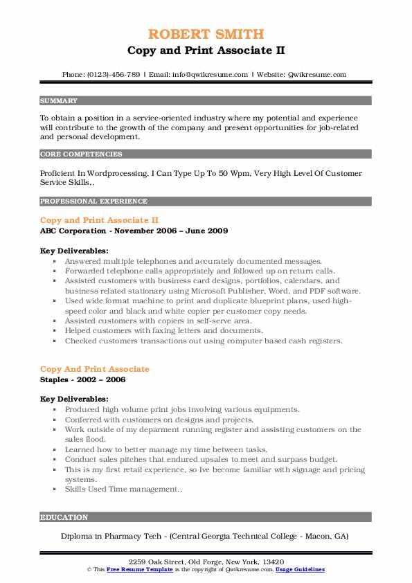 Copy and Print Associate II Resume Format