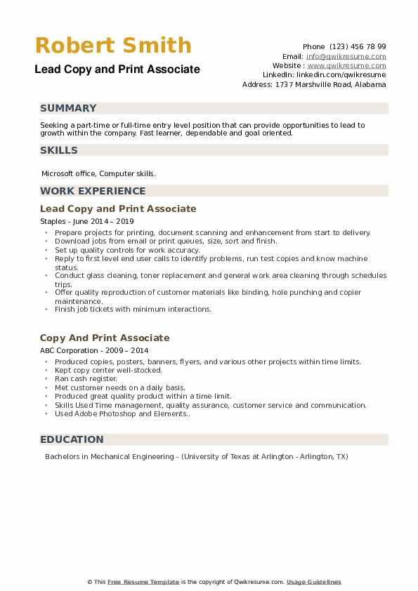 Lead Copy and Print Associate Resume Template