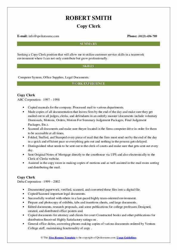 copy clerk resume samples  qwikresume