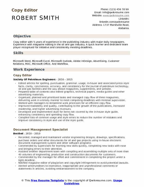 Copy Editor Resume Samples | QwikResume