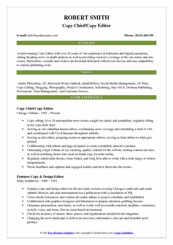 Copy Chief Editor Resume Template