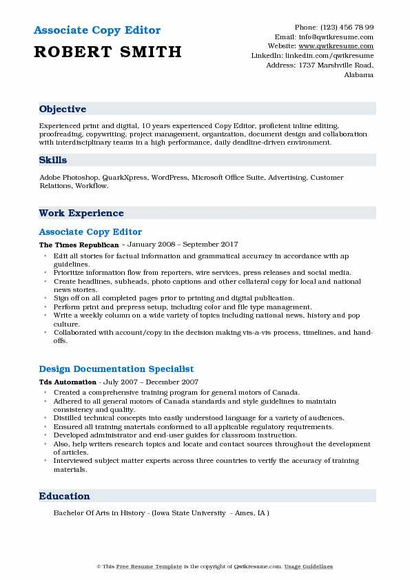 Associate Copy Editor Resume Example
