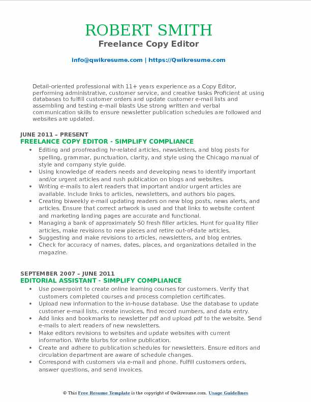 Freelance Copy Editor Resume Format