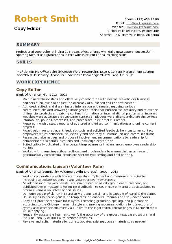 Copy Editor Resume example