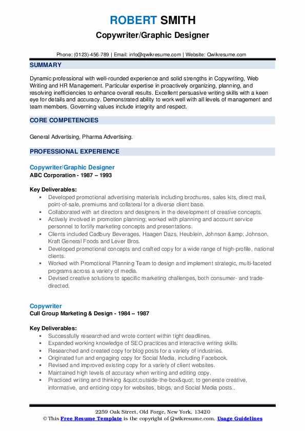 Copywriter/Graphic Designer Resume Model