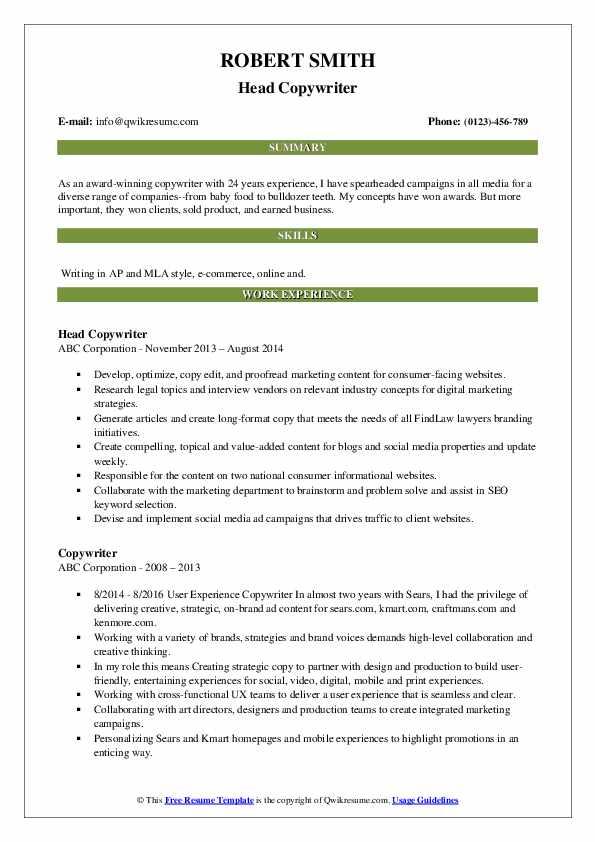 Head Copywriter Resume Sample
