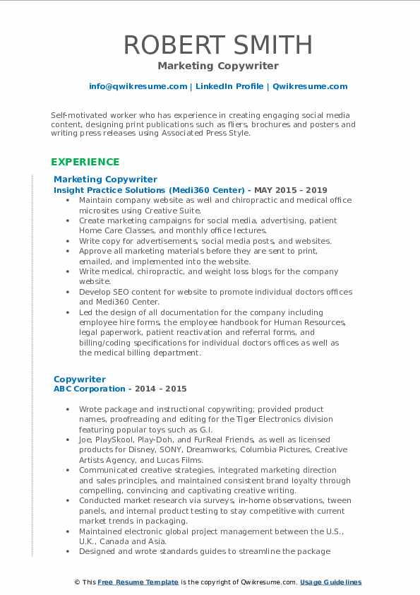 Marketing Copywriter Resume Model