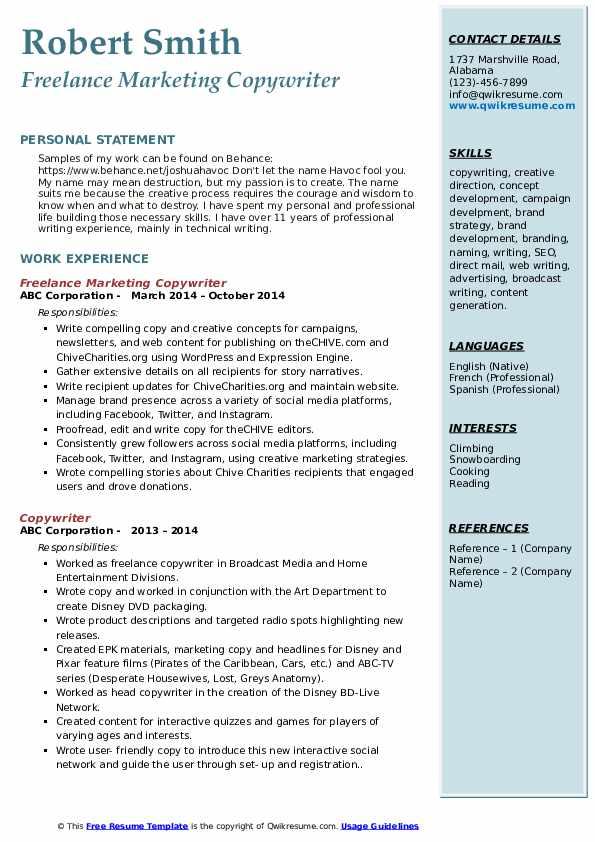 Freelance Marketing Copywriter Resume Model