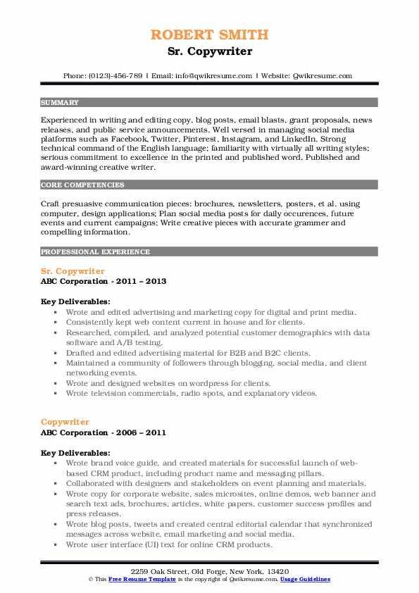 Sr. Copywriter Resume Sample