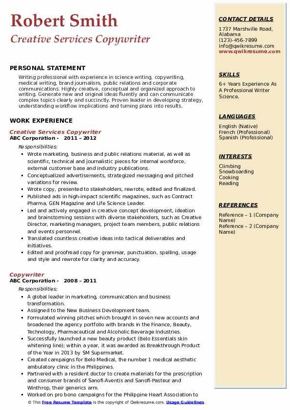 Creative Services Copywriter Resume Example
