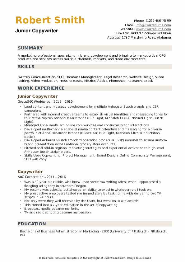 Junior Copywriter Resume Sample