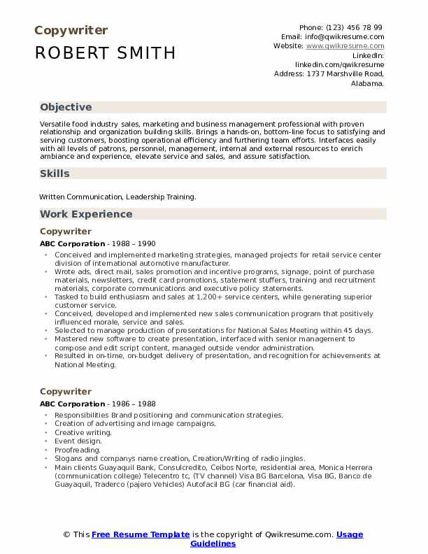 Copywriter Resume example