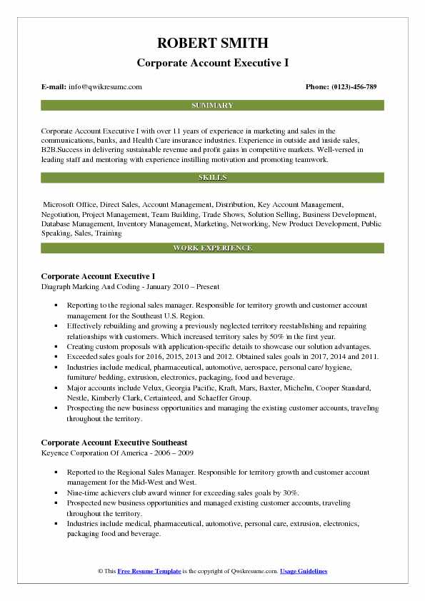 Corporate Account Executive I Resume Sample